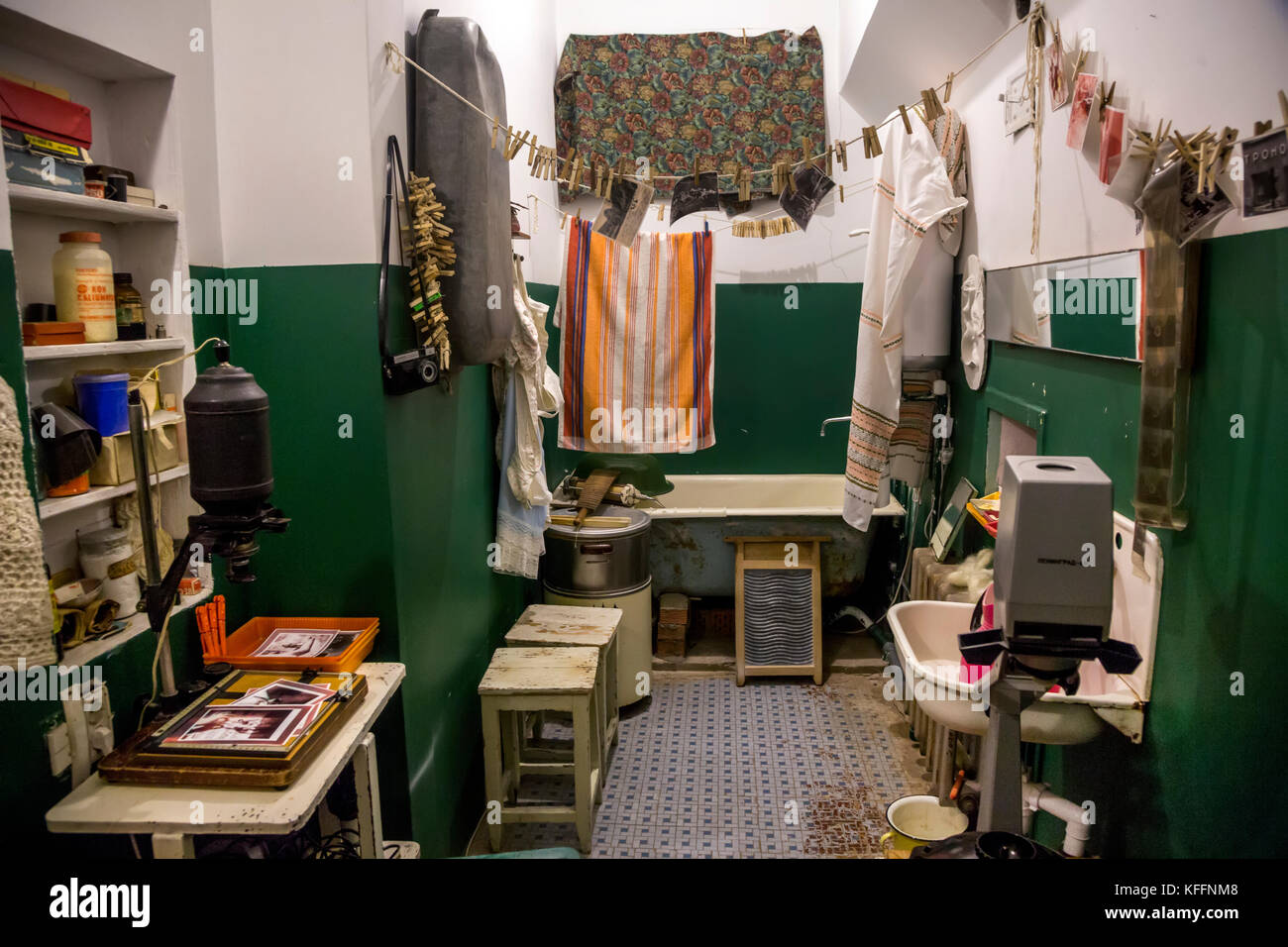 Reconstruction interior of traditional bathroom in soviet communal apartment in Russia - Stock Image