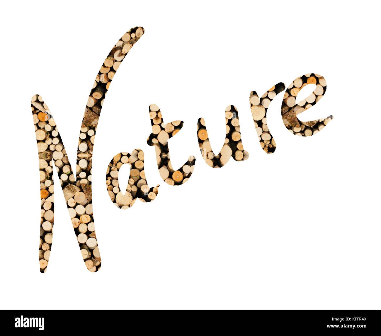 Das Wort Nature aus Holzrollen geschrieben, dargestellt - Stock Image
