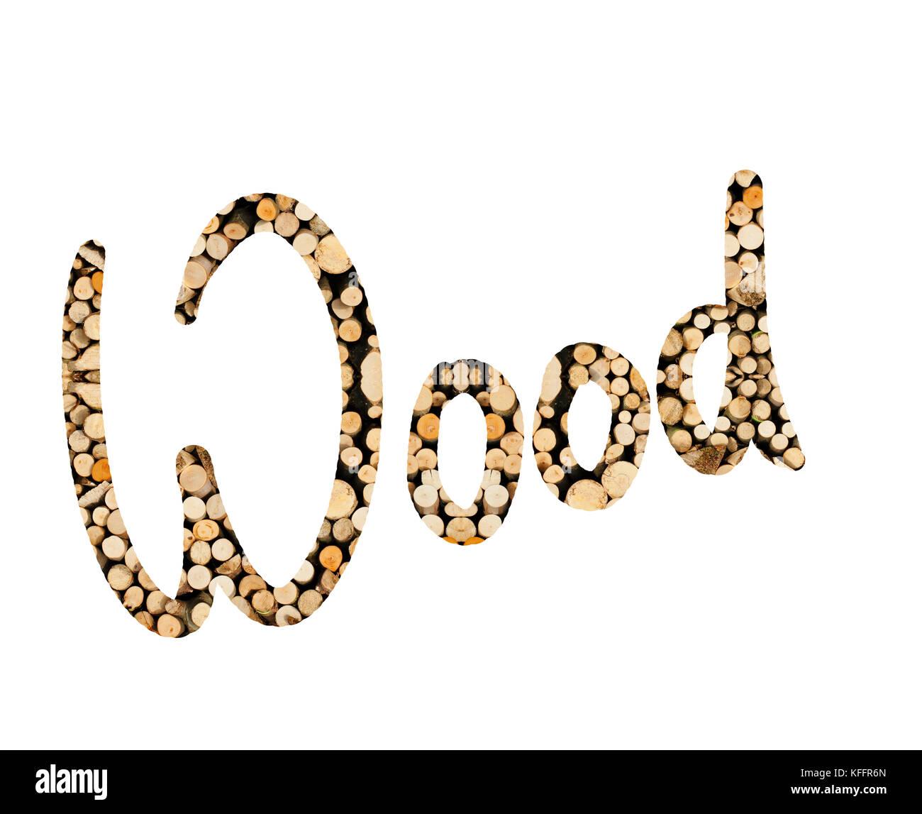 das Wort Wood mit Holz Stangen geschrieben, dargestellt - Stock Image
