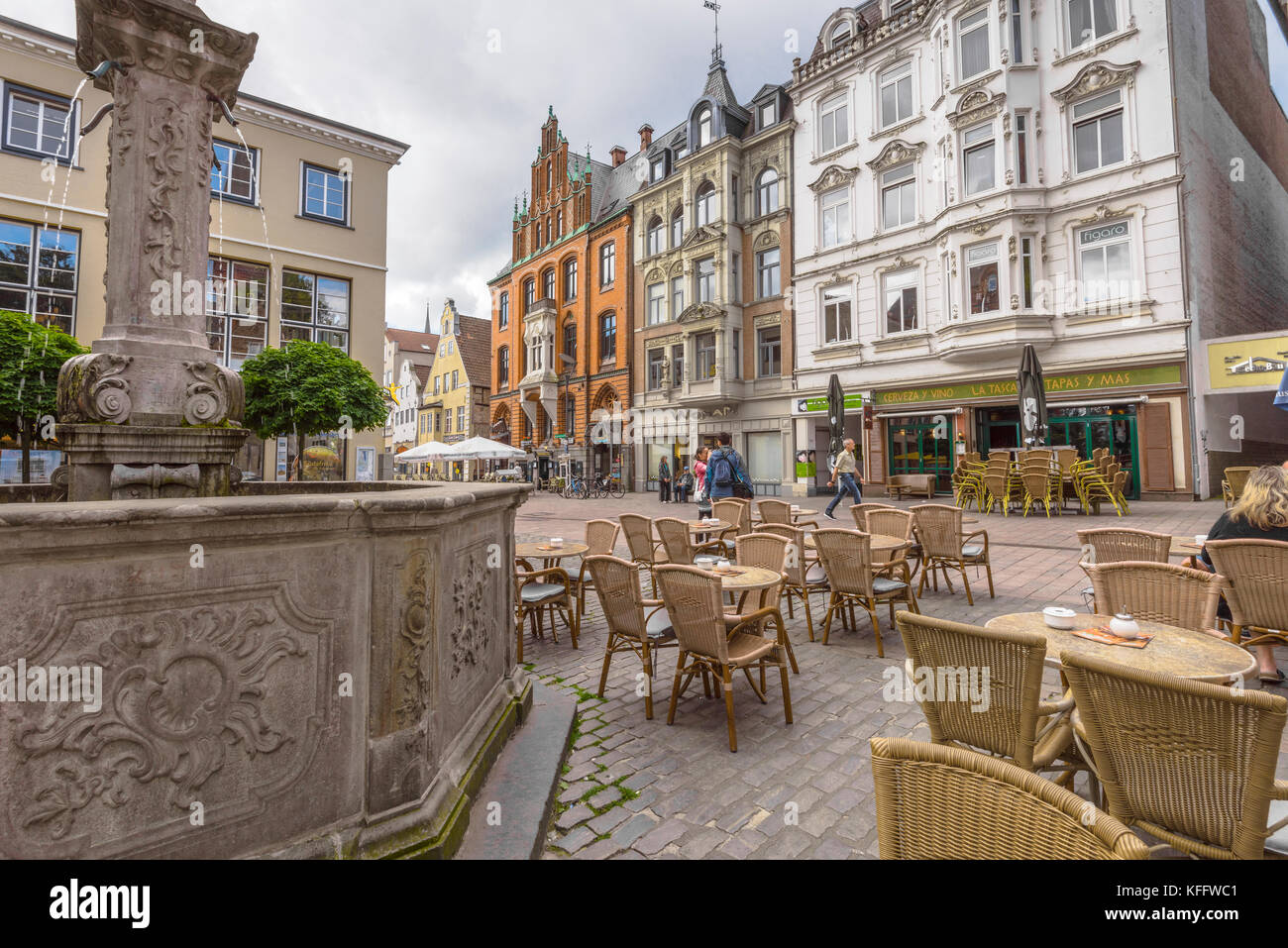 Nordermarkt square and the old brick building of the trade house Hansen in Flensburg, coastal town at the Baltic Stock Photo