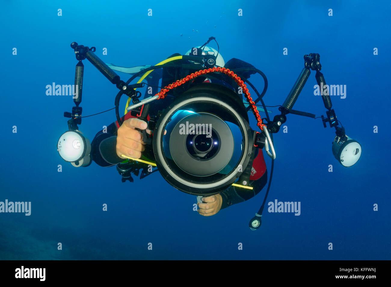 suba diver, underwater photographer, Adriatic Sea, Mediterranean Sea, Croatia, MR Yes - Stock Image