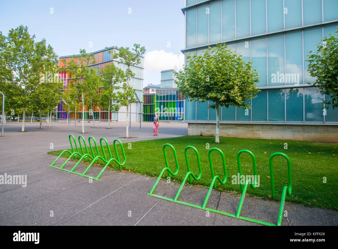 Bike parking and facade of MUSAC. Leon, Spain. - Stock Image