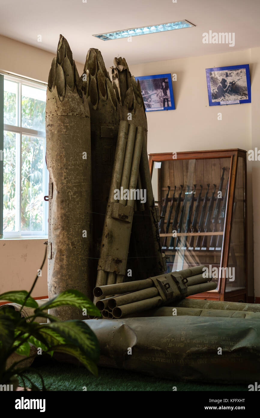 Bombs and Shells from the Vietnam War, on display at Cu Chi - Stock Image