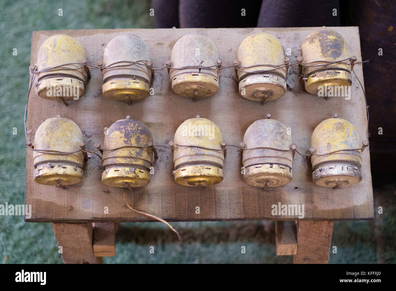 Grenades from the Vietnam War, on display at Cu Chi - Stock Image
