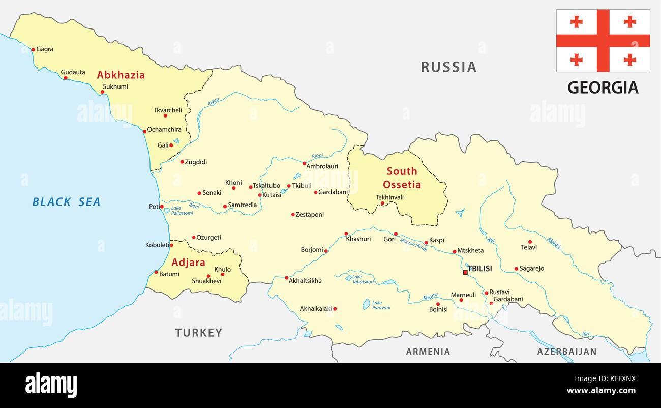 georgia map with flag - Stock Image