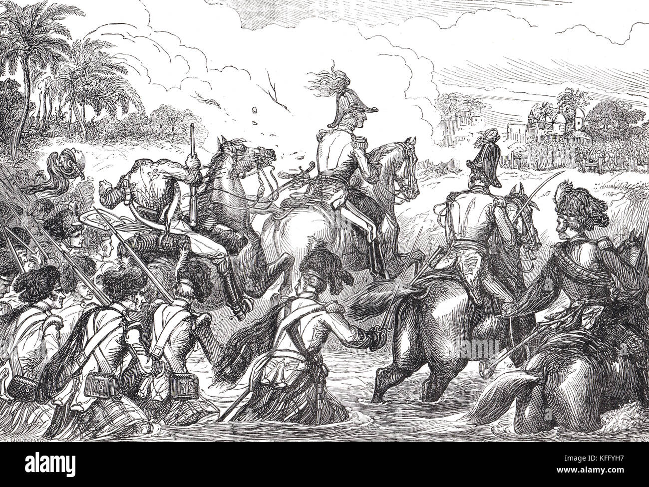 Duke of Wellington crossing the Kaitna River at the Battle of Assaye, 23 September 1803 - Stock Image
