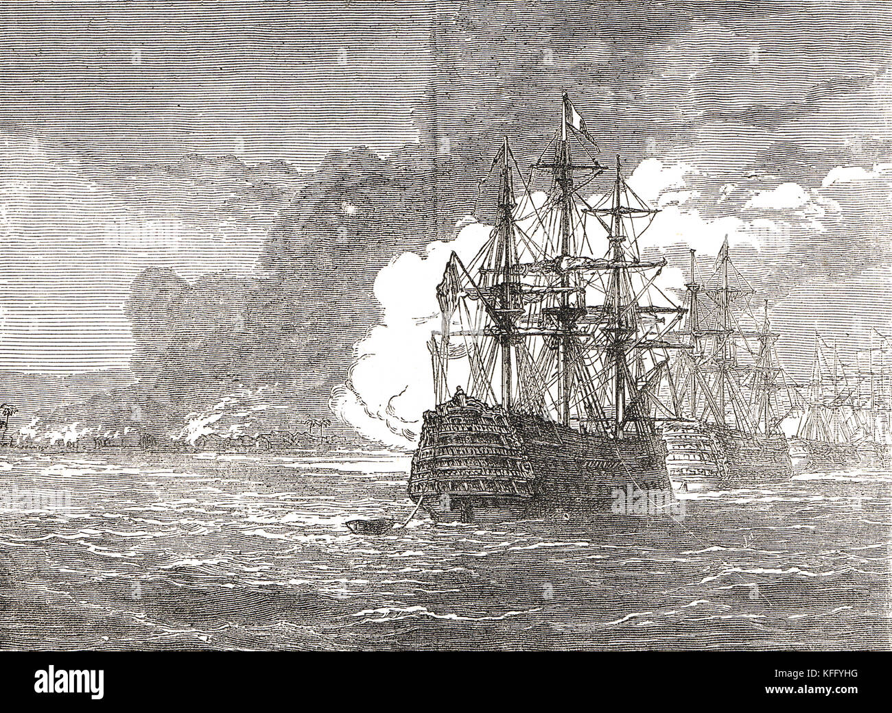Burning of Roseau, Dominica, 1805 - Stock Image