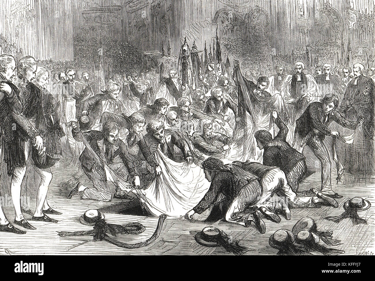 Incident at Nelson's funeral, St Paul's Cathedral, 9 January 1805, Seamen tearing his flag apart for souvenirs - Stock Image