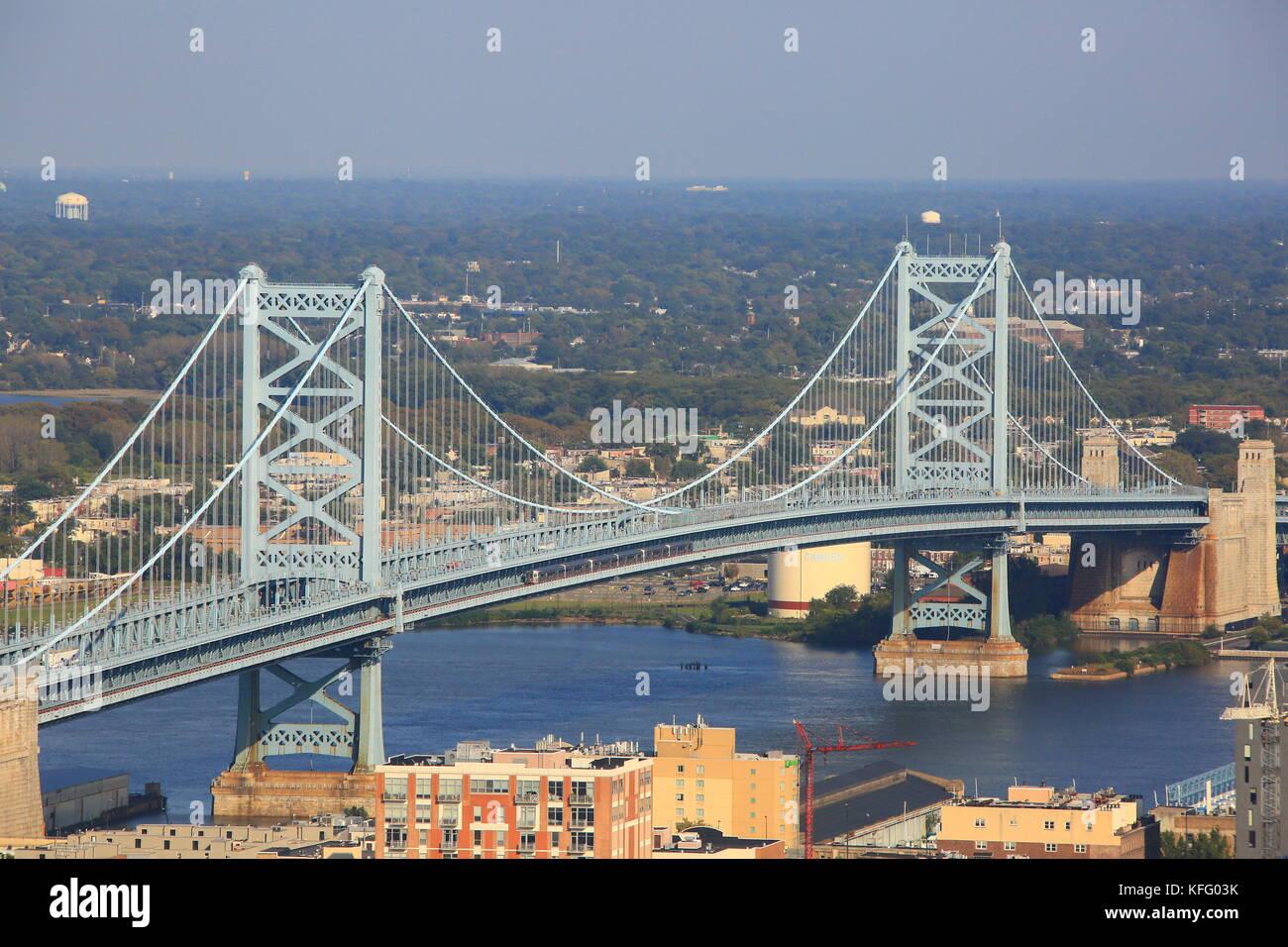 Benjamin Franklin Bridge PHL Stock Photo