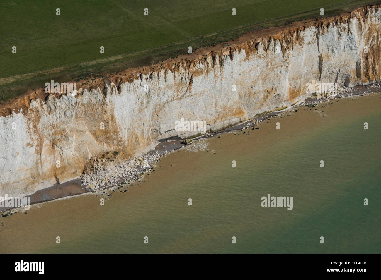 A n aerial view of the white cliffs of Beachy Head in East Sussex, United Kingdom. - Stock Image