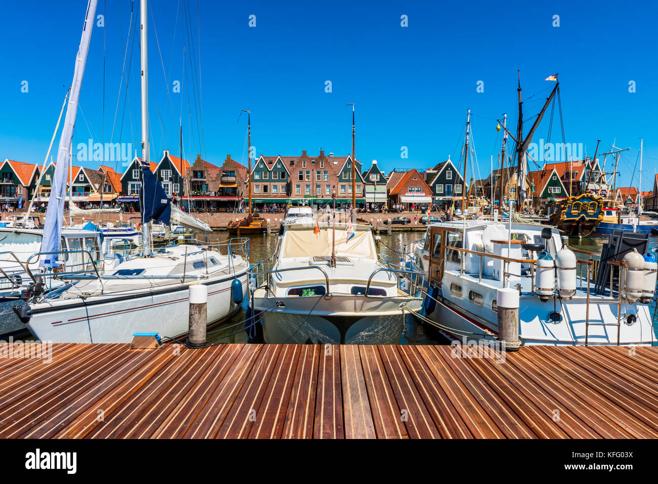 View on Volendam and its marina, The Netherlands. Volendam is a fishing village and popular tourist attraction in Stock Photo