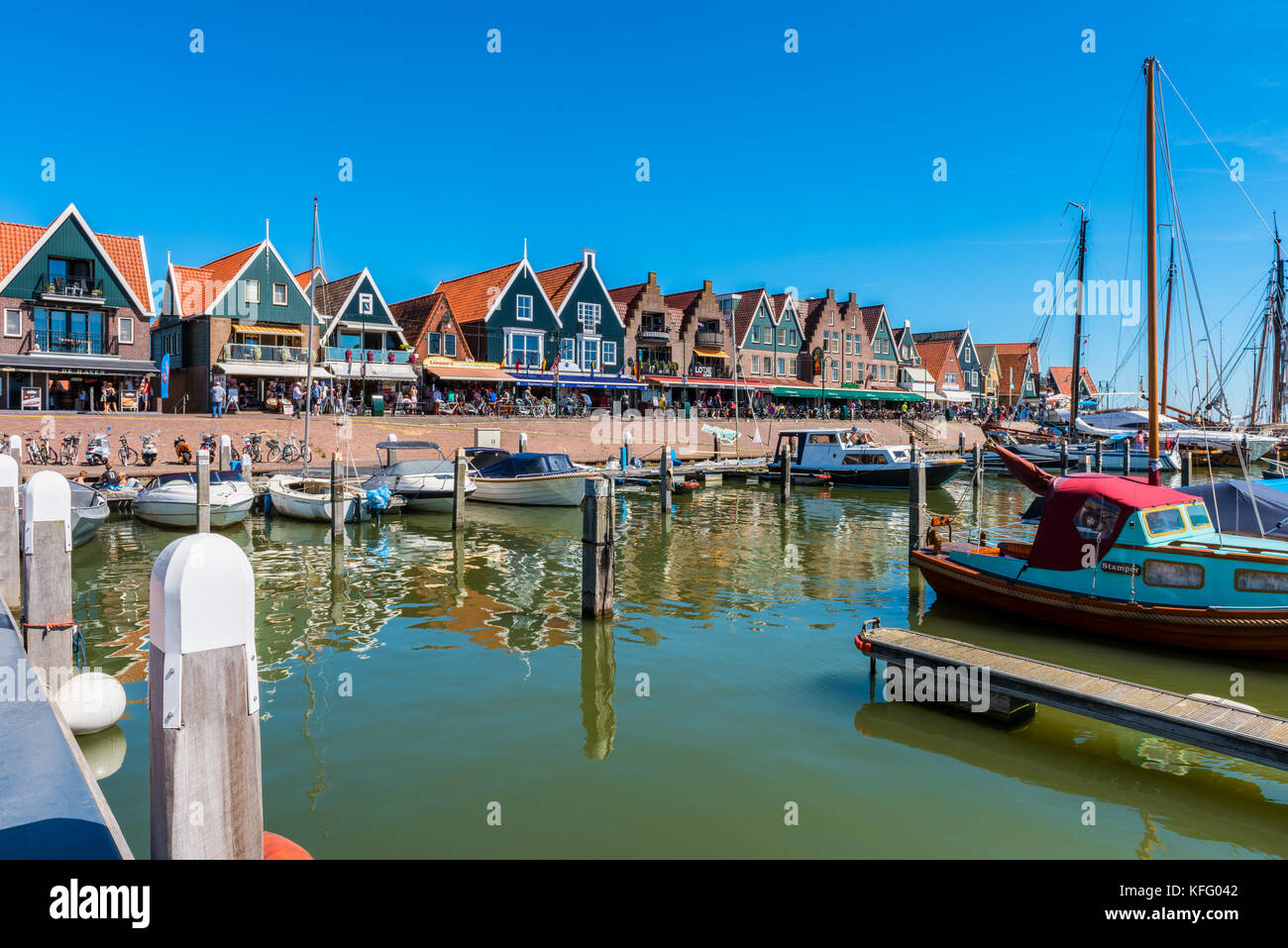 View on the town center of Volendam, Netherlands. Volendam is a popular tourist attraction in the Netherlands, 20 Stock Photo