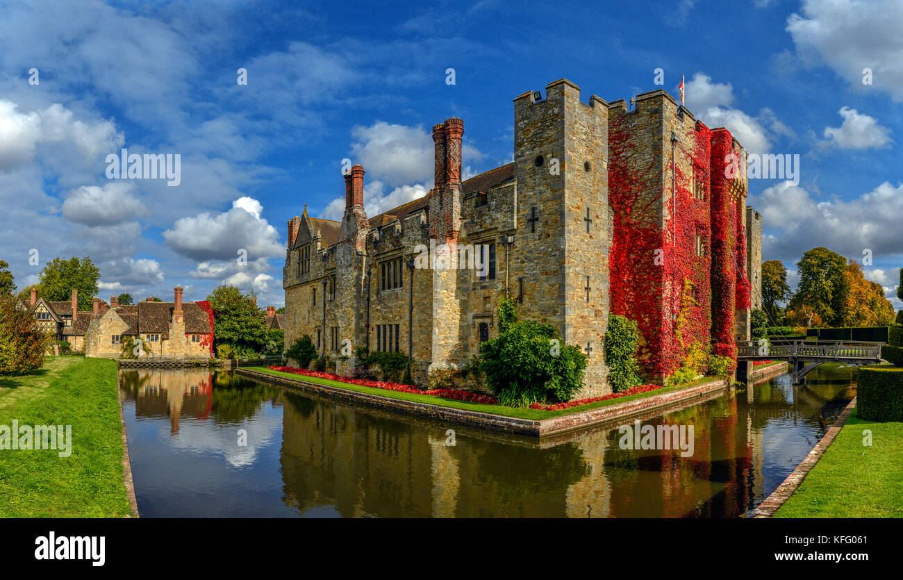 The moated, Hever Castle in Kent, United Kingdom. - Stock Image