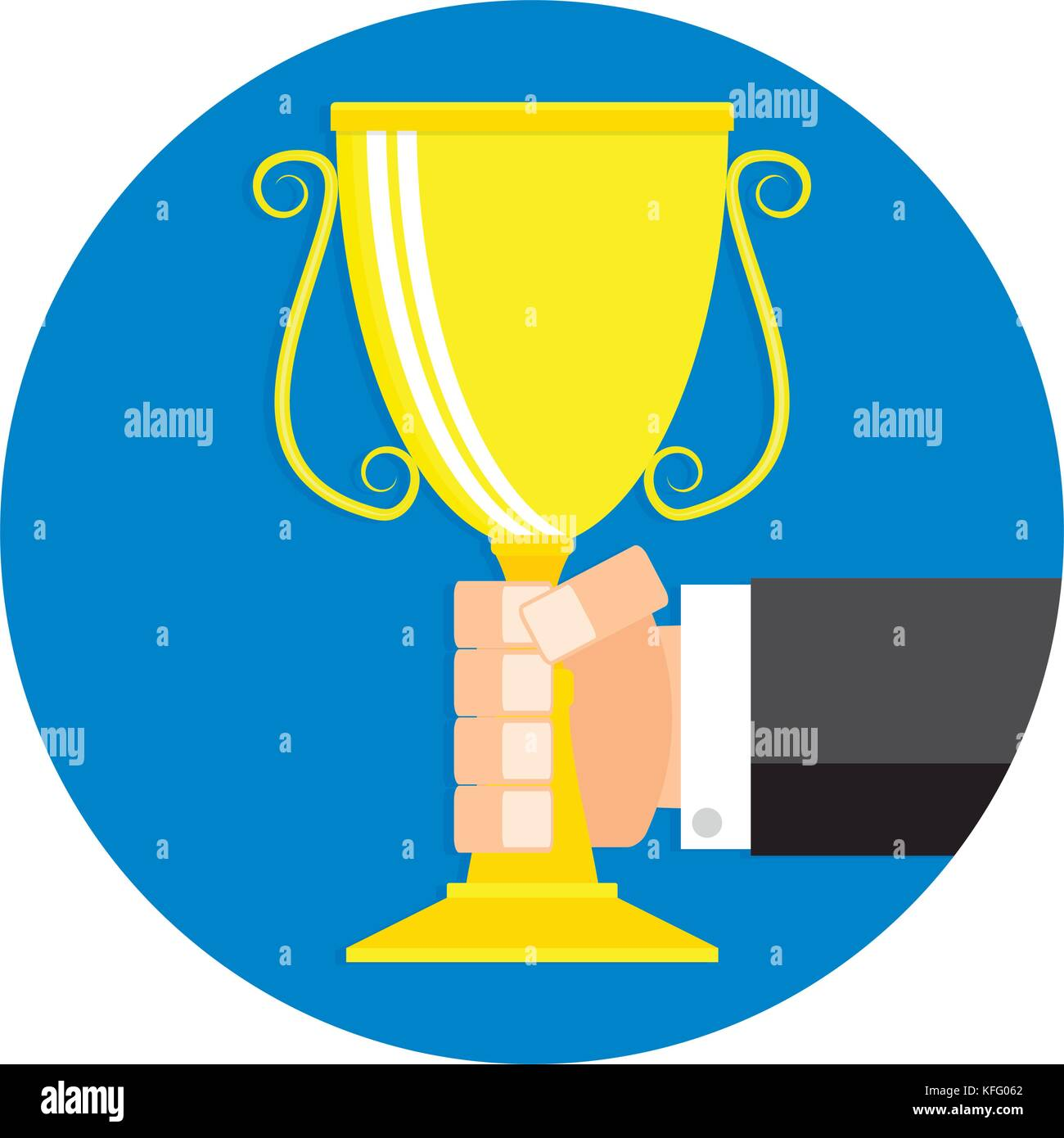 Golden Cup In Hand Icon Flat Cartoon Winner Leadership Trophy Reward And Victory Triumph Badge Label Vector Illustration