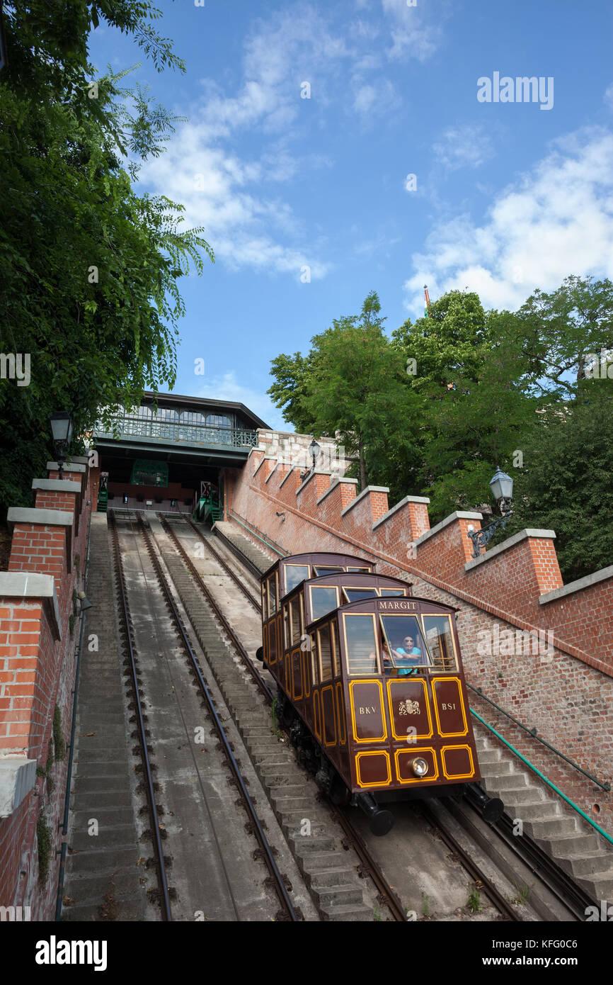 Hungary, Budapest, Budapest Castle Hill Funicular (Budavari Siklo) with vintage railway car, city landmark and tourist Stock Photo