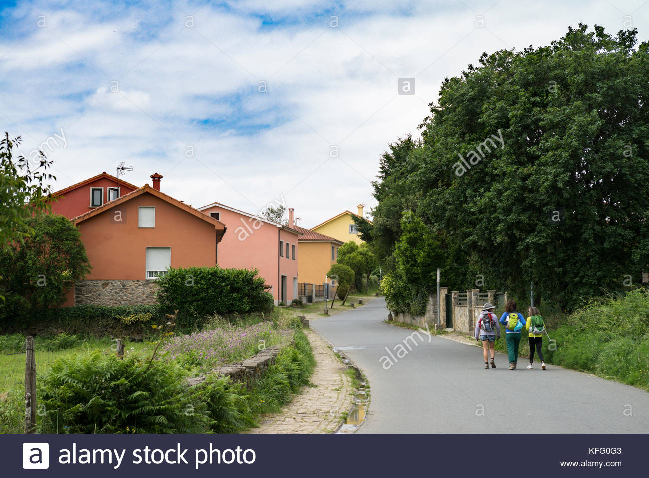 Three Women Walking the Camino Frances (The French Way), Santiago de Compostela, Spain Stock Photo