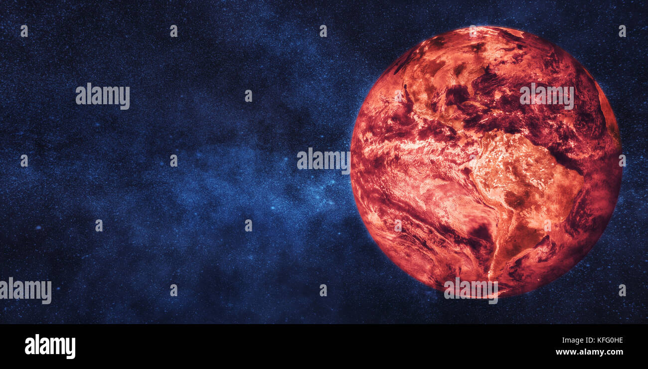Global warming concept. Planet Earth in flames. Some elements of image furnished by NASA - Stock Image