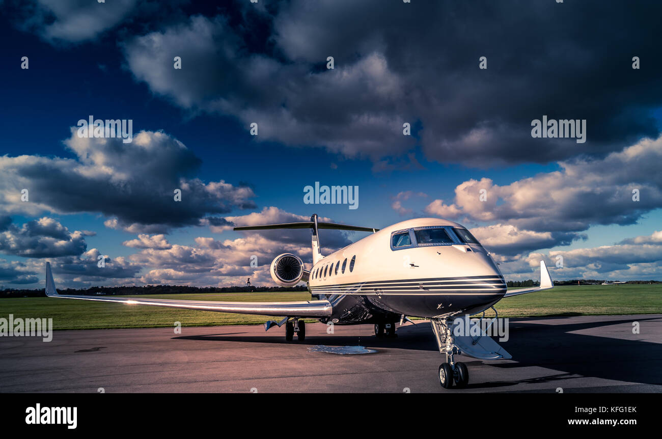 G650 Gulfstream private jet at the airport - Stock Image