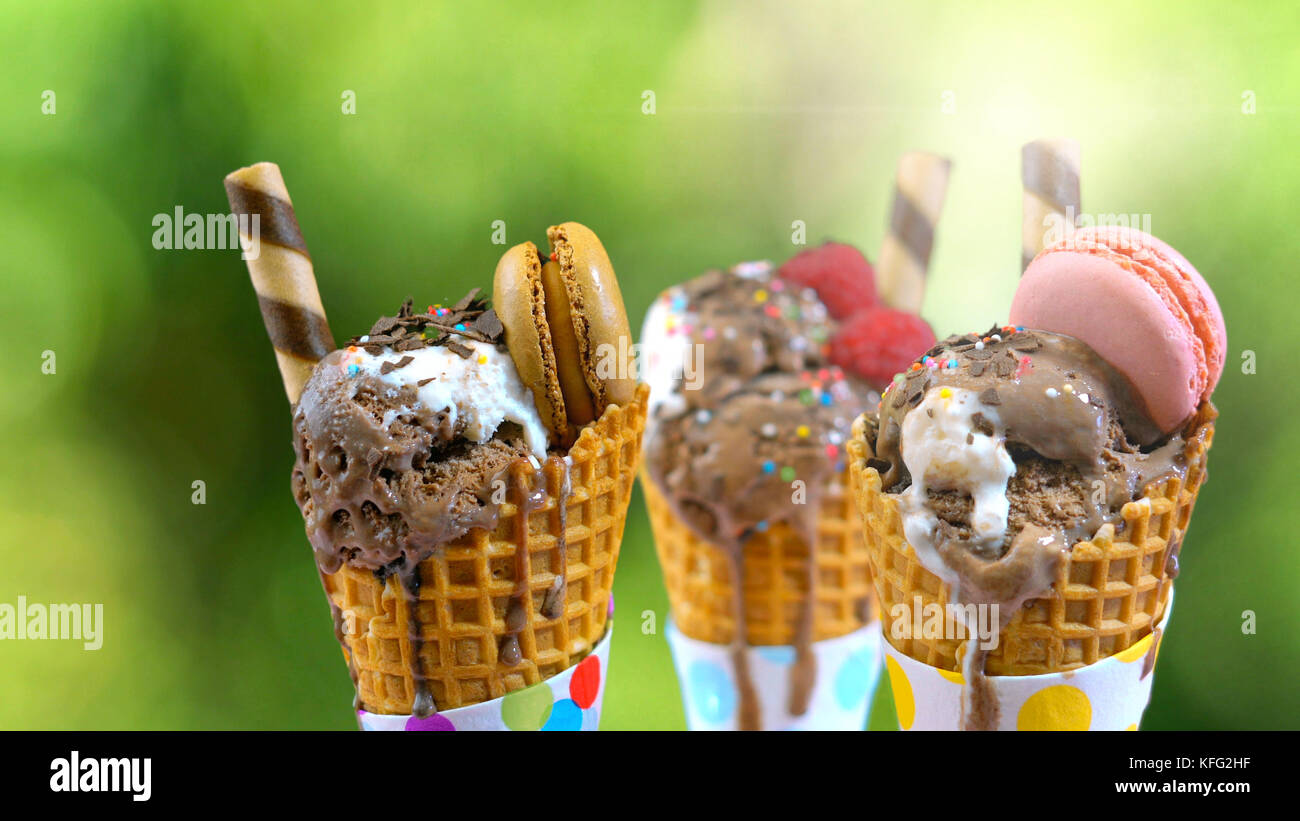 Chocolate gourmet ice creams decorated with macaroon berries and fruit against garden setting with lens flare - Stock Image