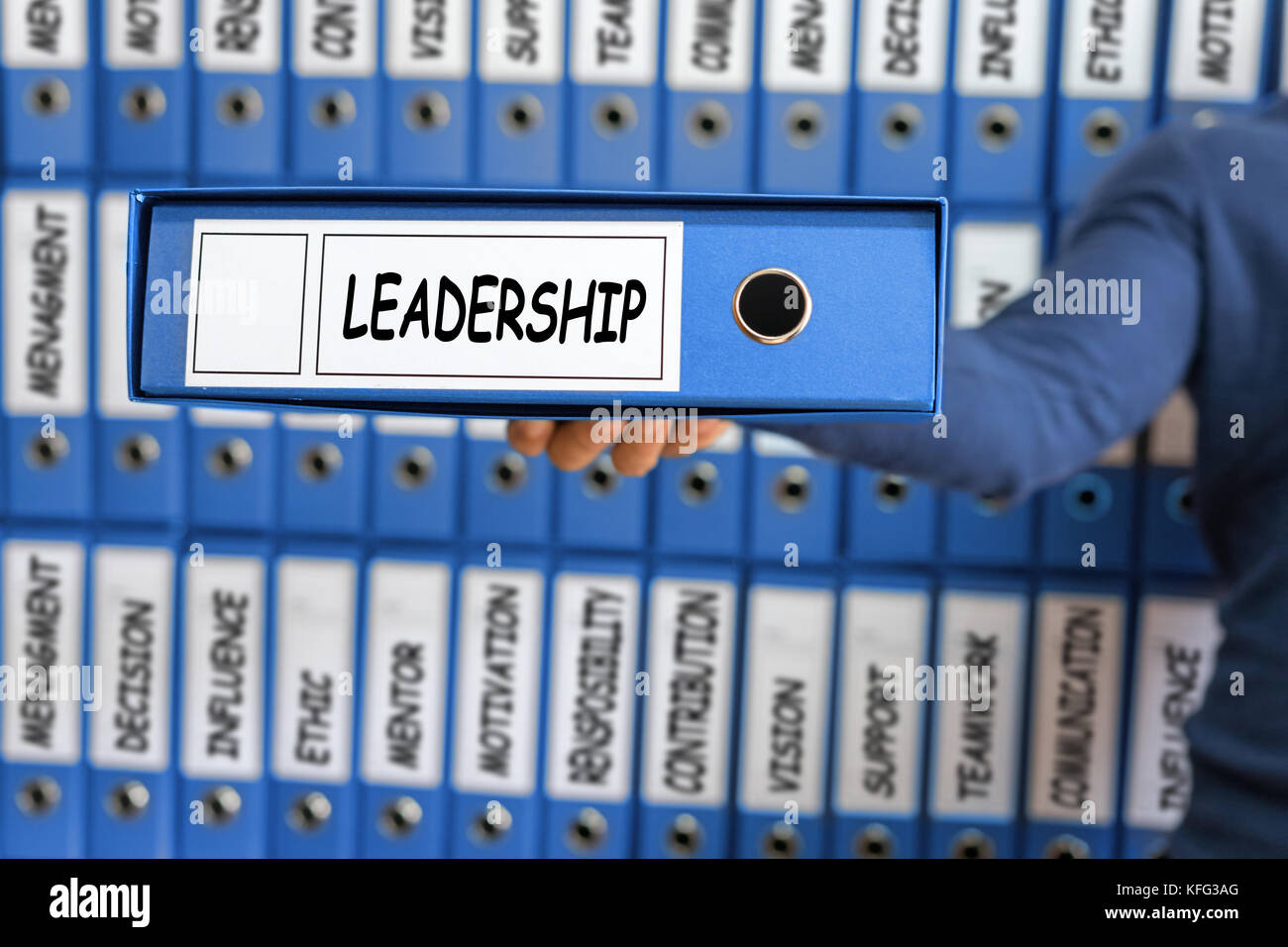 Leadership concept. Leadership skill concept. Young man holding ring binder. - Stock Image