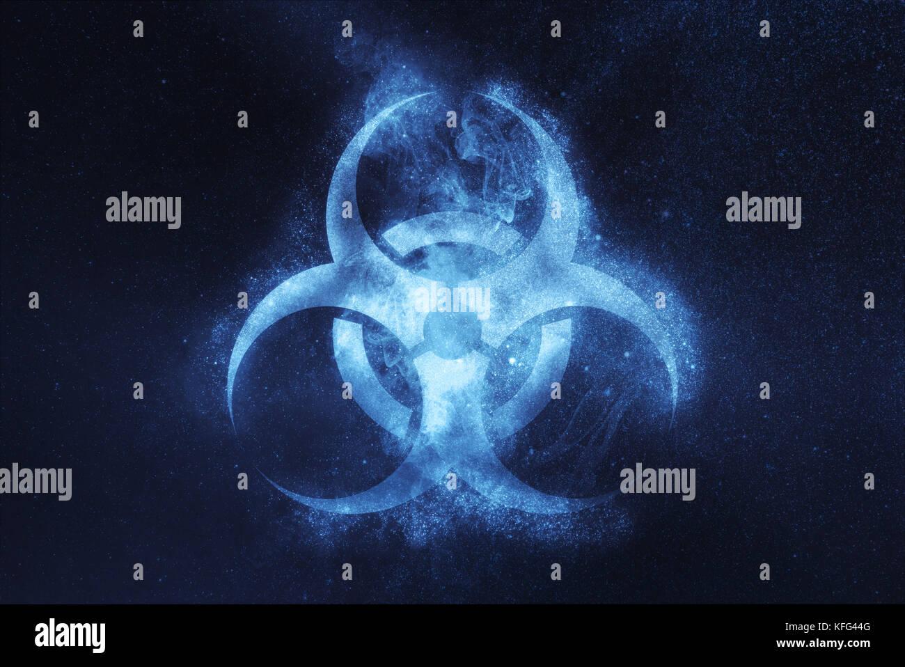 Biohazard symbol. Biohazard sign. Abstract night sky background Stock Photo