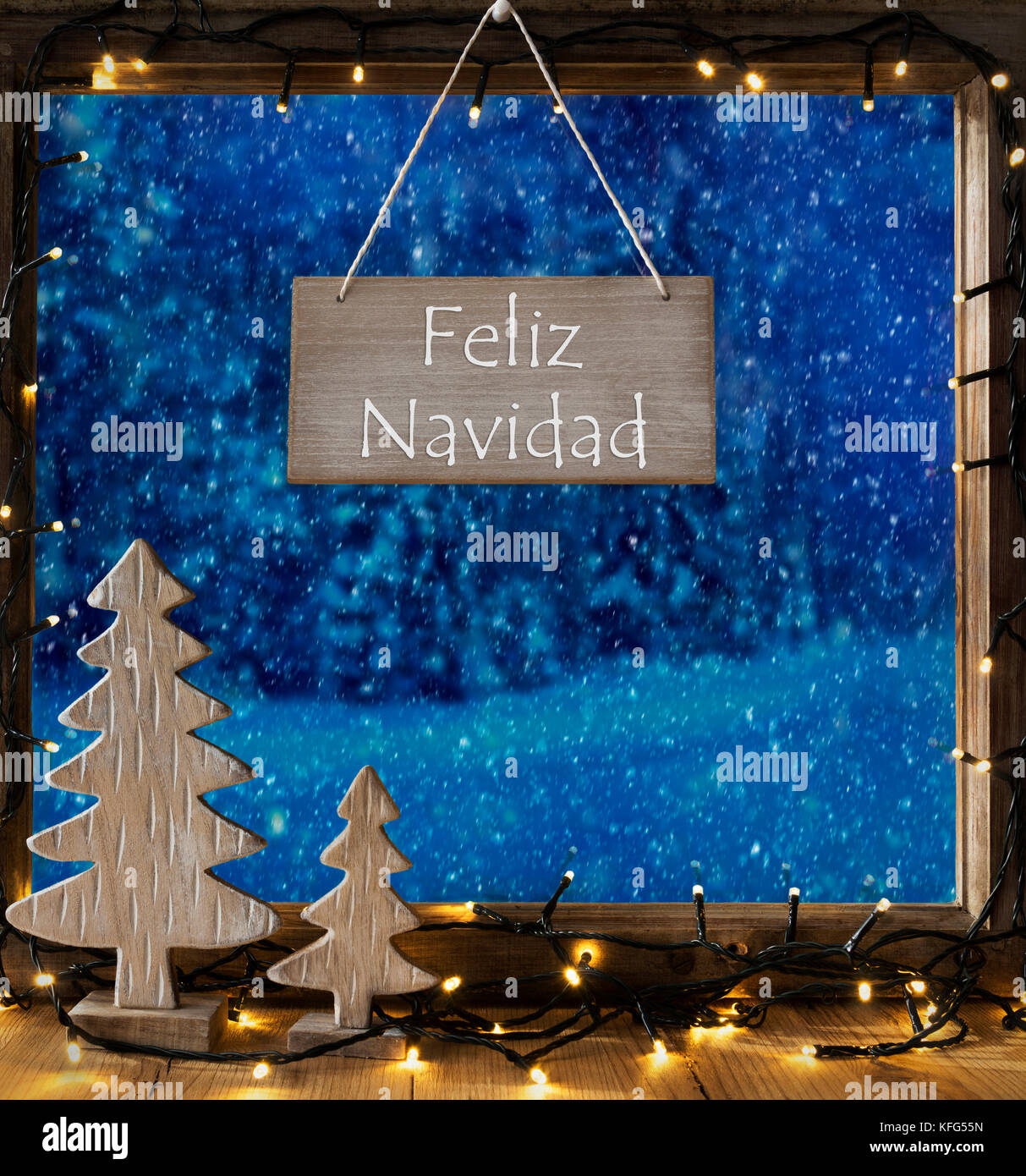 c53f5b58a3bf6 Sign With Spanish Text Feliz Navidad Means Merry Christmas. Window Frame  With Winter Landscape With
