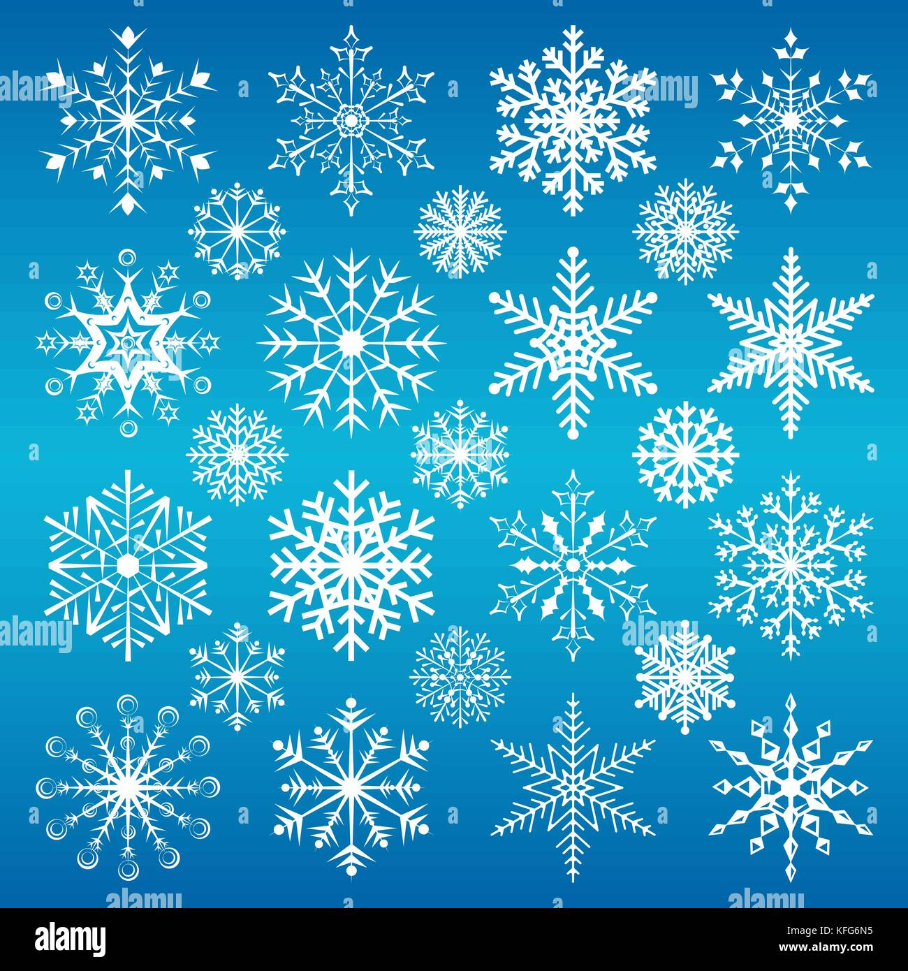 Christmas snowflakes on a blue background. - Stock Image