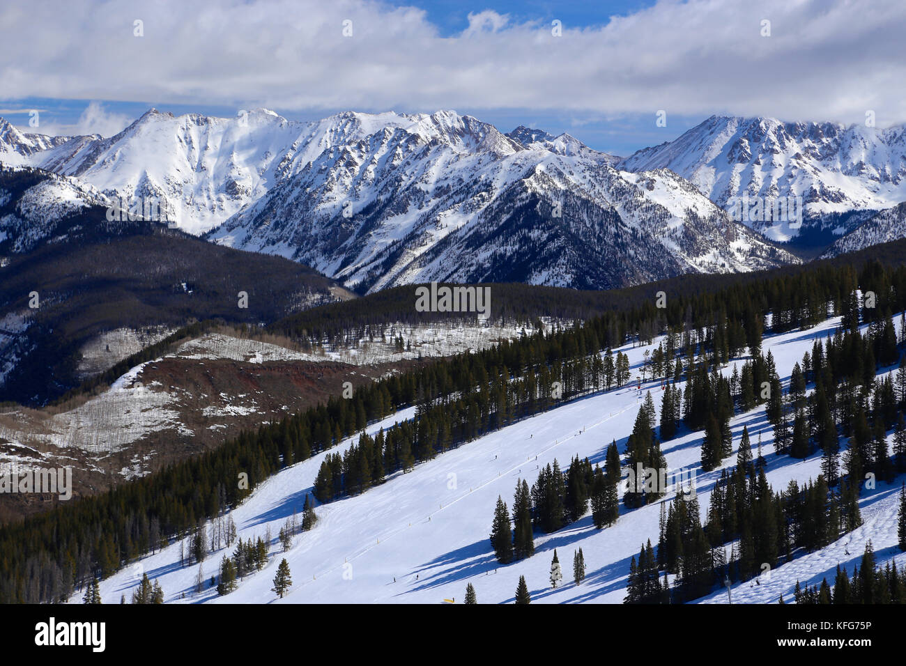 Vail ski resort in winter in the Colorado Rocky Mountains - Stock Image