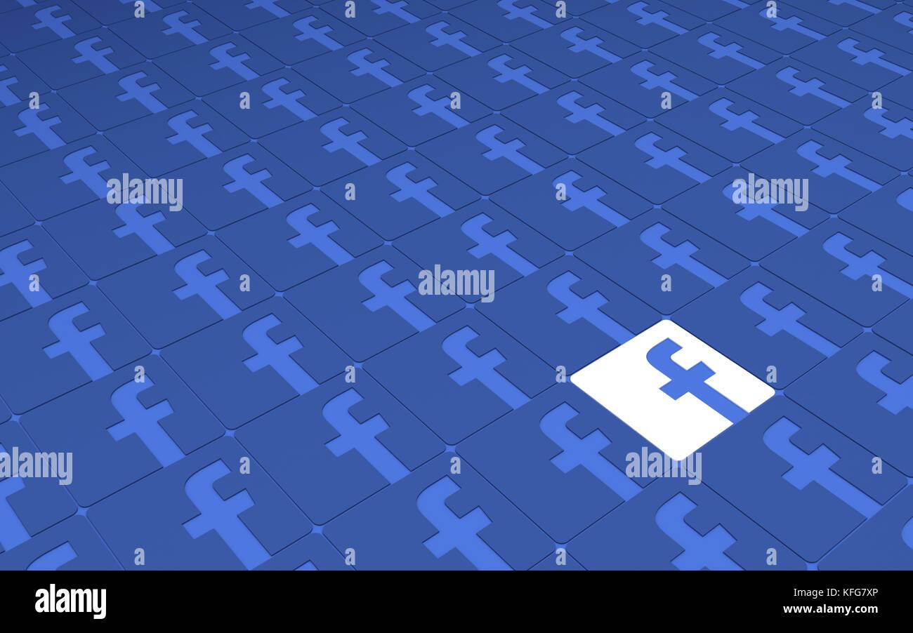 Tehran  IRAN-April 21 2016- Social Network Facebook Signs Pattern, 3D Illustration, 3D renderings Stock Photo