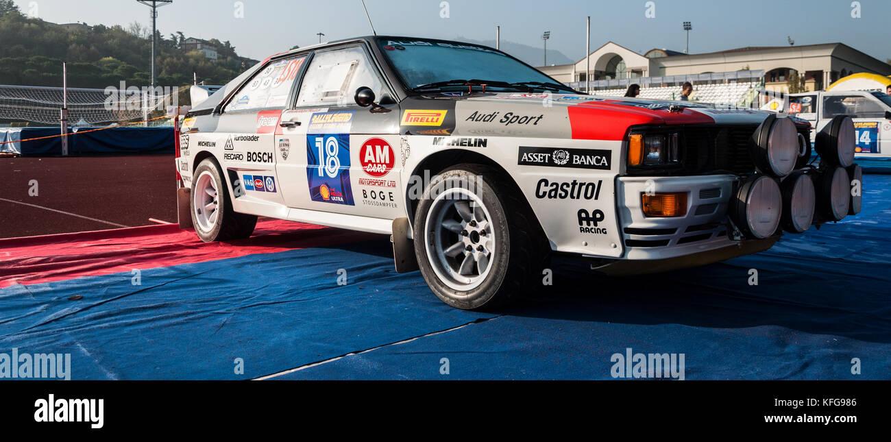 SANMARINO, SANMARINO - OTT 21, 2017 : AUDI QUATTRO in old racing car rally THE LEGEND 2017 the famous SAN MARINO - Stock Image
