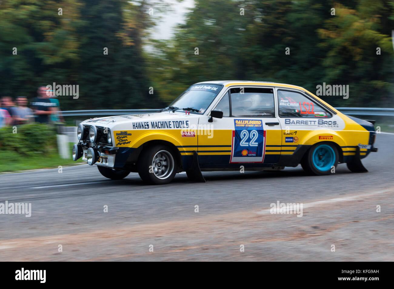 SANMARINO, SANMARINO - OTT 21 : FORD ESCORT RS 1977 old racing car rally THE LEGEND 2017 the famous SAN MARINO historical - Stock Image