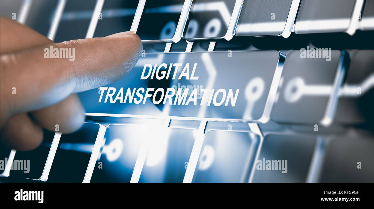 Finger pressing a digital button with the text digital transformation. Concept of digitalization of business processes. - Stock Image