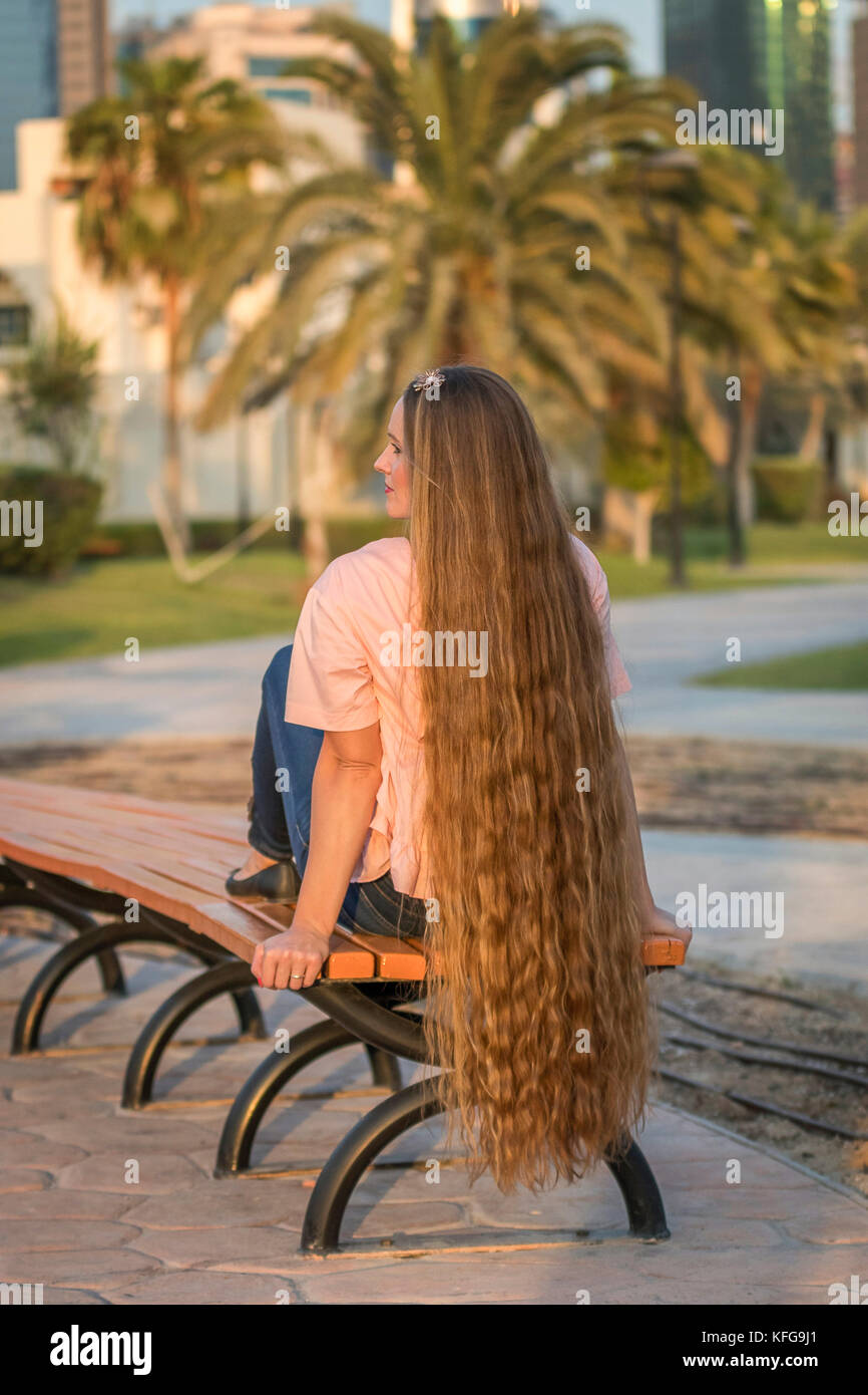 Real Life Rapunzel Girl With Beautiful Long Hair Stock
