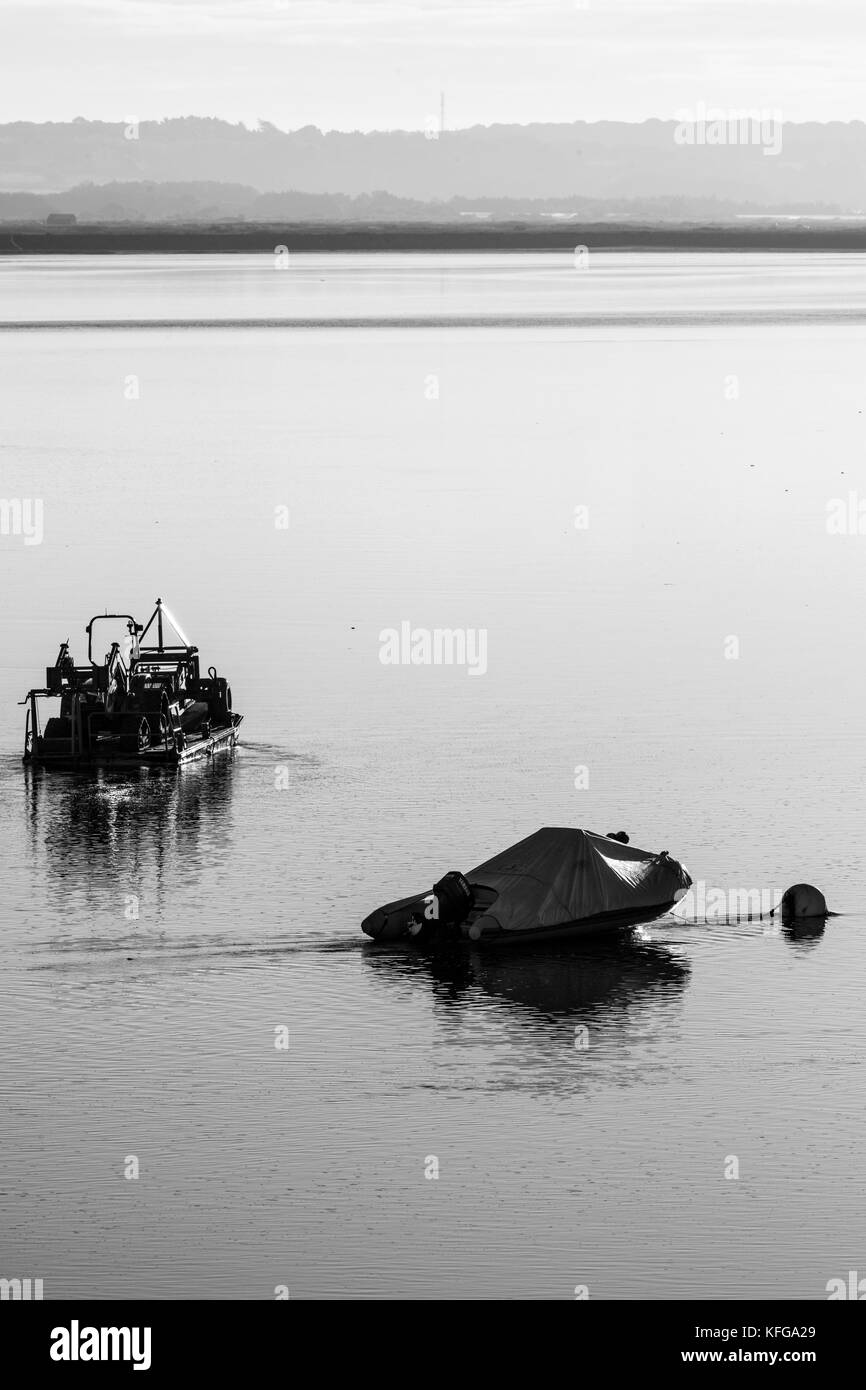 boats at mooring in early morning - Stock Image