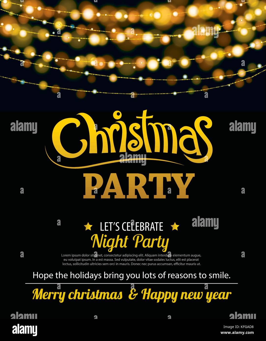 Invitation Merry Christmas Party Poster Banner And Card Design Stock