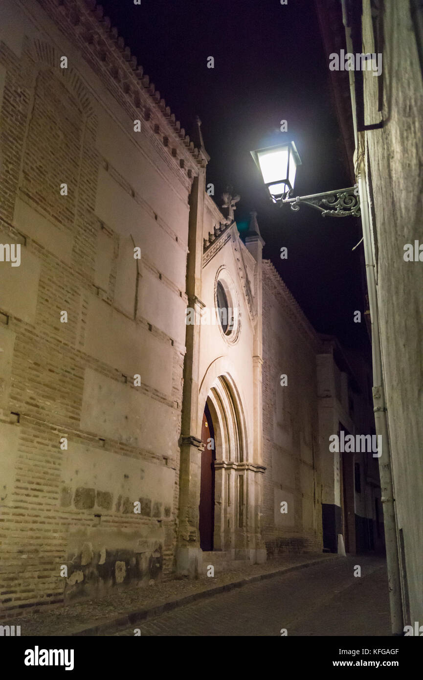 Church of St. John of the Monarchs (San Juan de los Reyes), 1520, by night, Granada, Andalucia, Spain - Stock Image