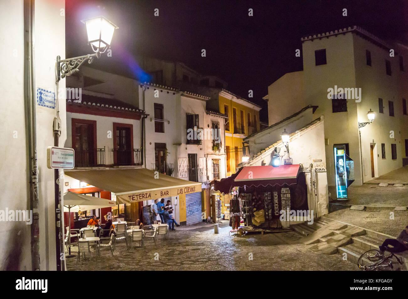 Teteria Las Cuevas, traditional tea shop, by night, Plaza San Gregorio, Albaicìn, Granada, Andalucia, Spain Stock Photo