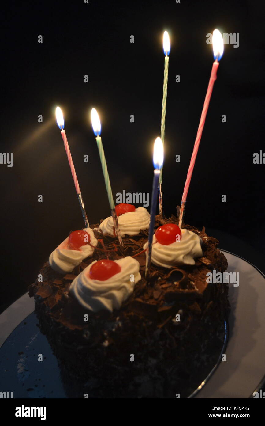 Fabulous Birthday Cake With Candles The One For Special Ones Stock Photo Birthday Cards Printable Opercafe Filternl