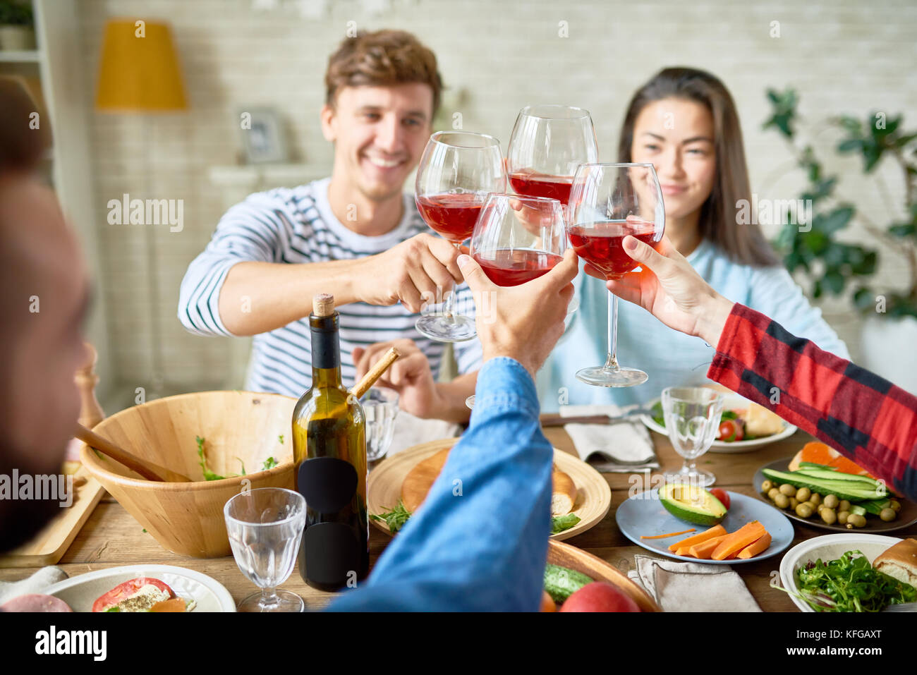 Friends Toasting at Thanksgiving Dinner Stock Photo