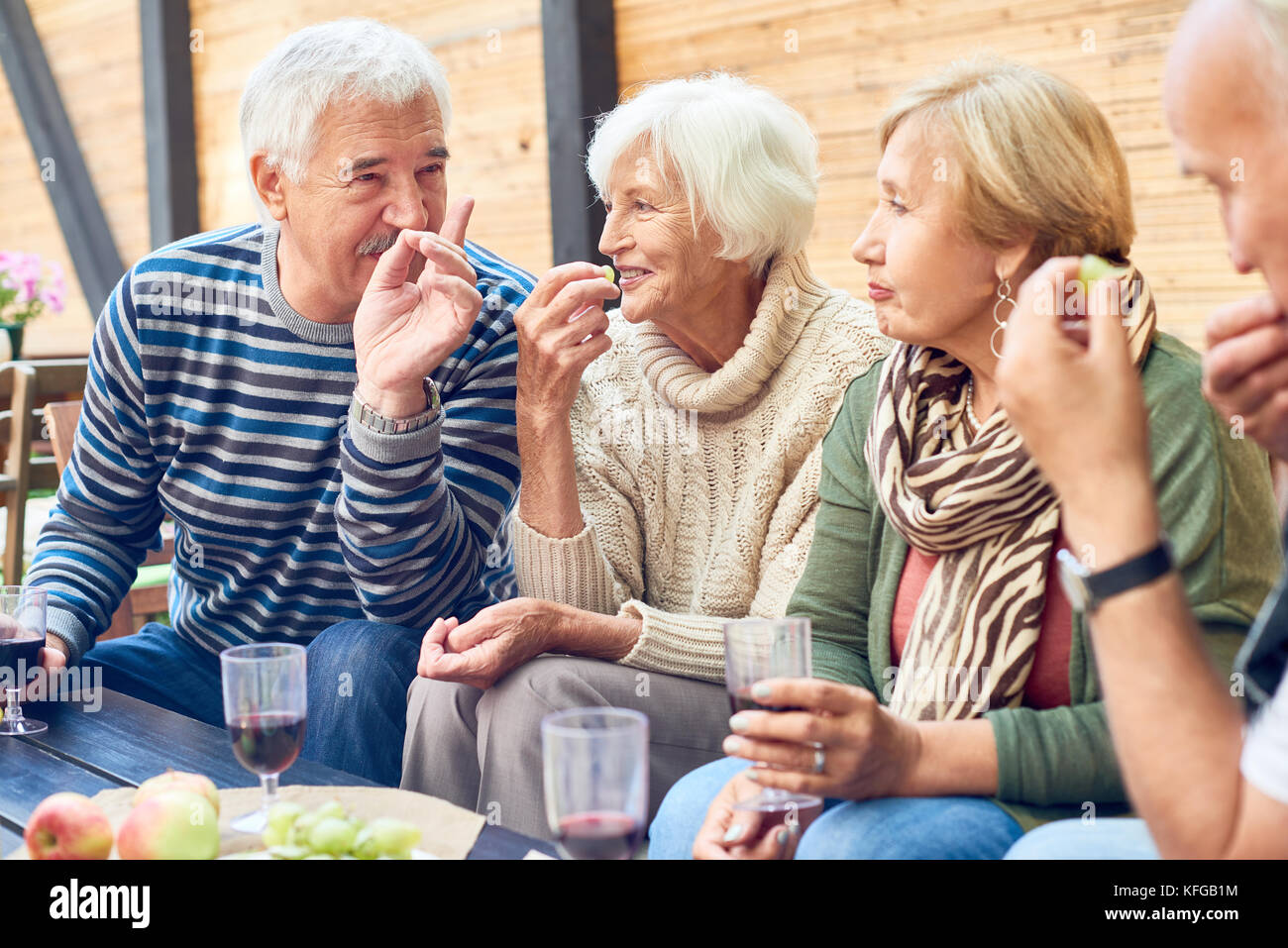 Backyard Party of Aged Friends - Stock Image