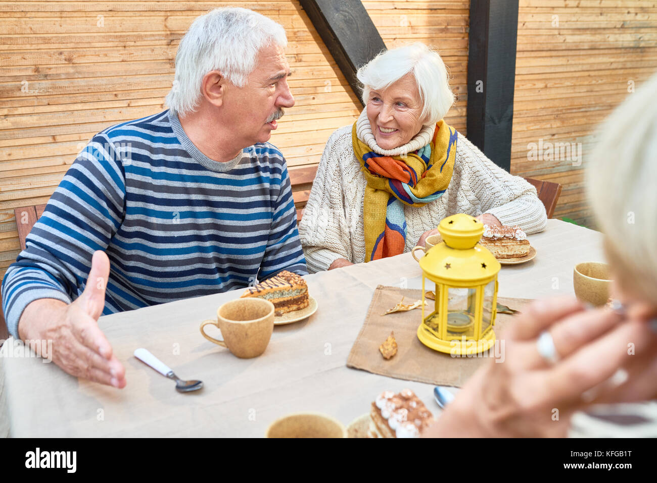 Unforgettable Time with Senior Friends - Stock Image