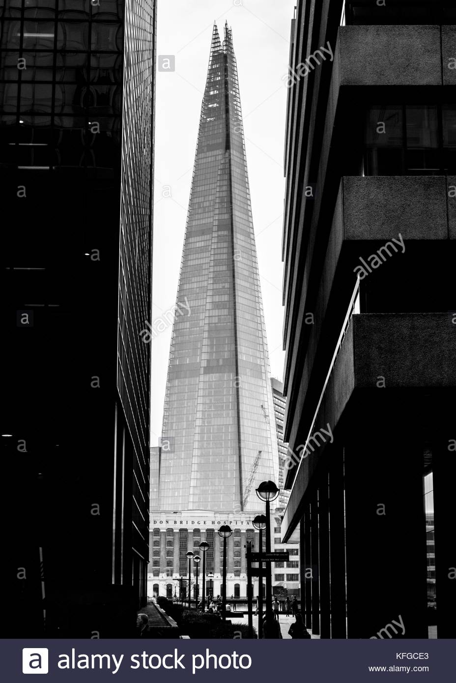 The Shard, October 2017. Black and white graphic image, taken between an office block and a multi story car park - Stock Image