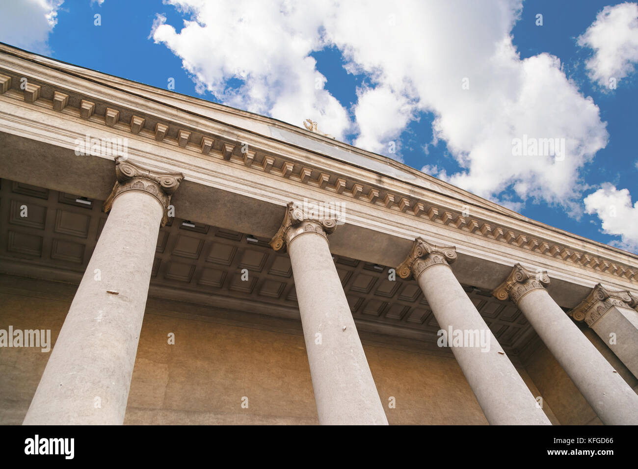 classical pillar on blue sky background, Greek architecture - Stock Image