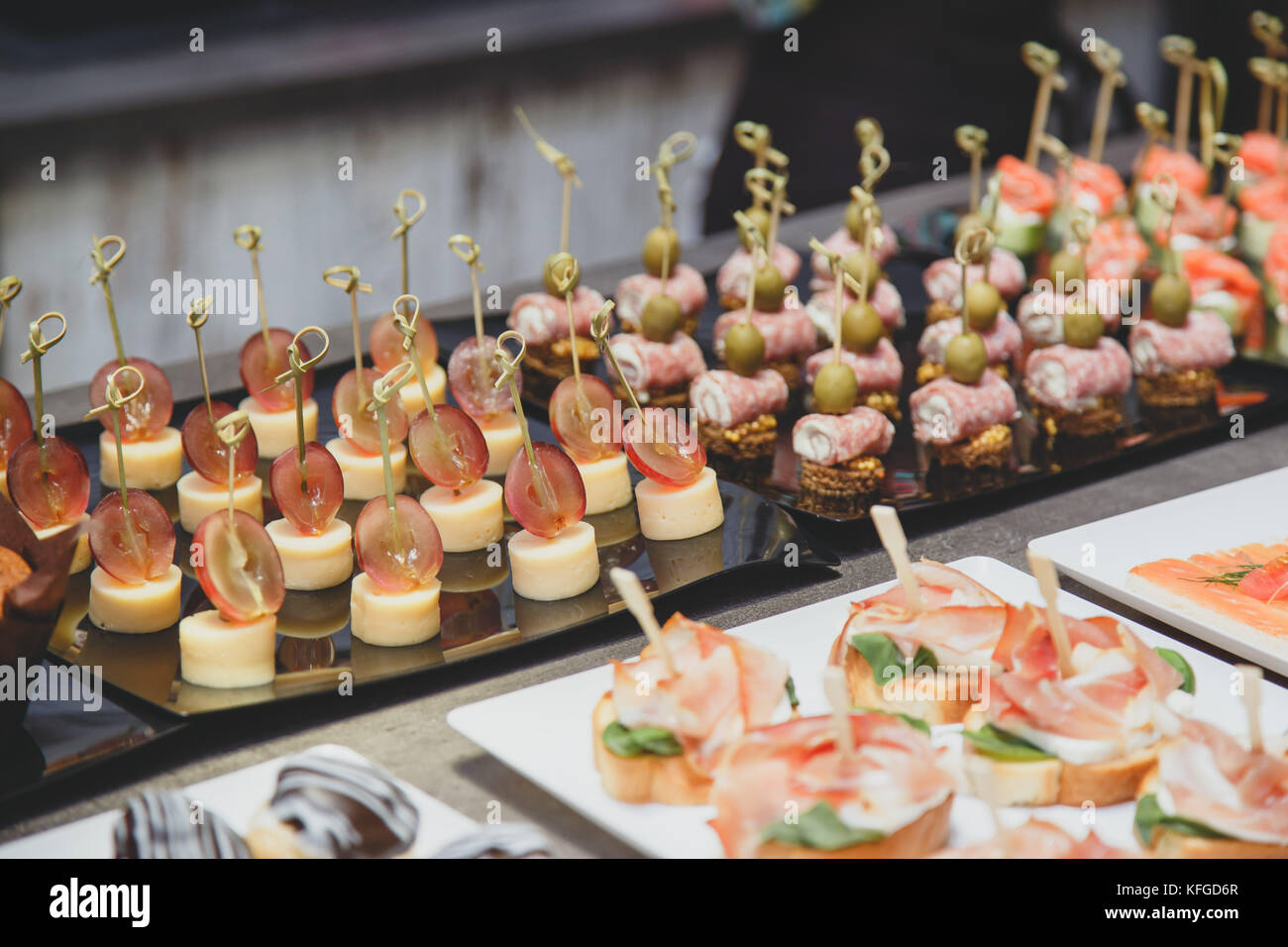 Catering food specialties for an event on table - Stock Image