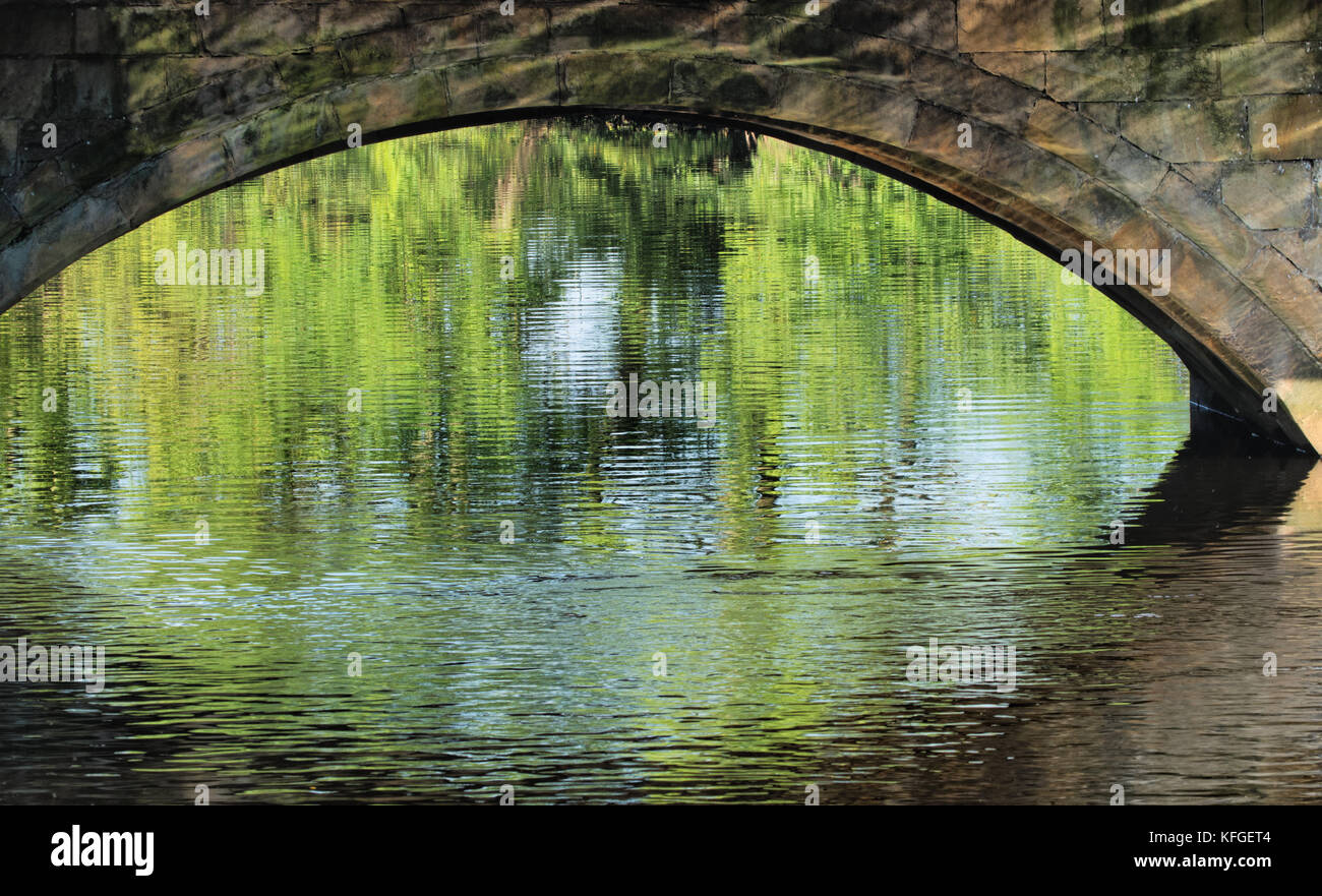 Bridge Arch Over the River Wharfe in Otley,West Yorkshire,England,UK. Stock Photo