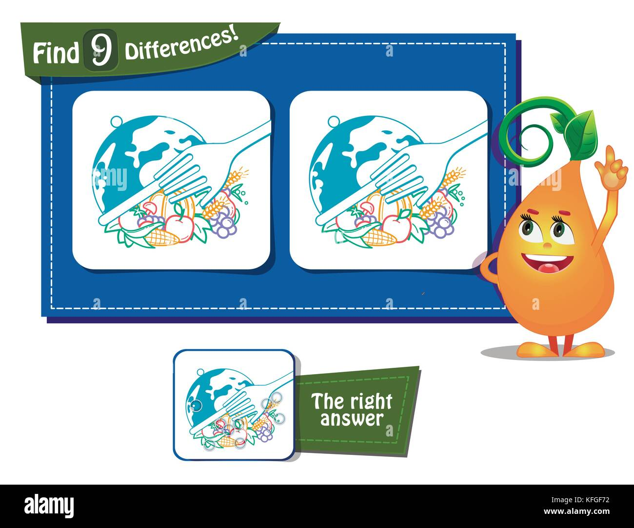 visual game for children and adults. Task to find 9 differences . World Food Day - Stock Image