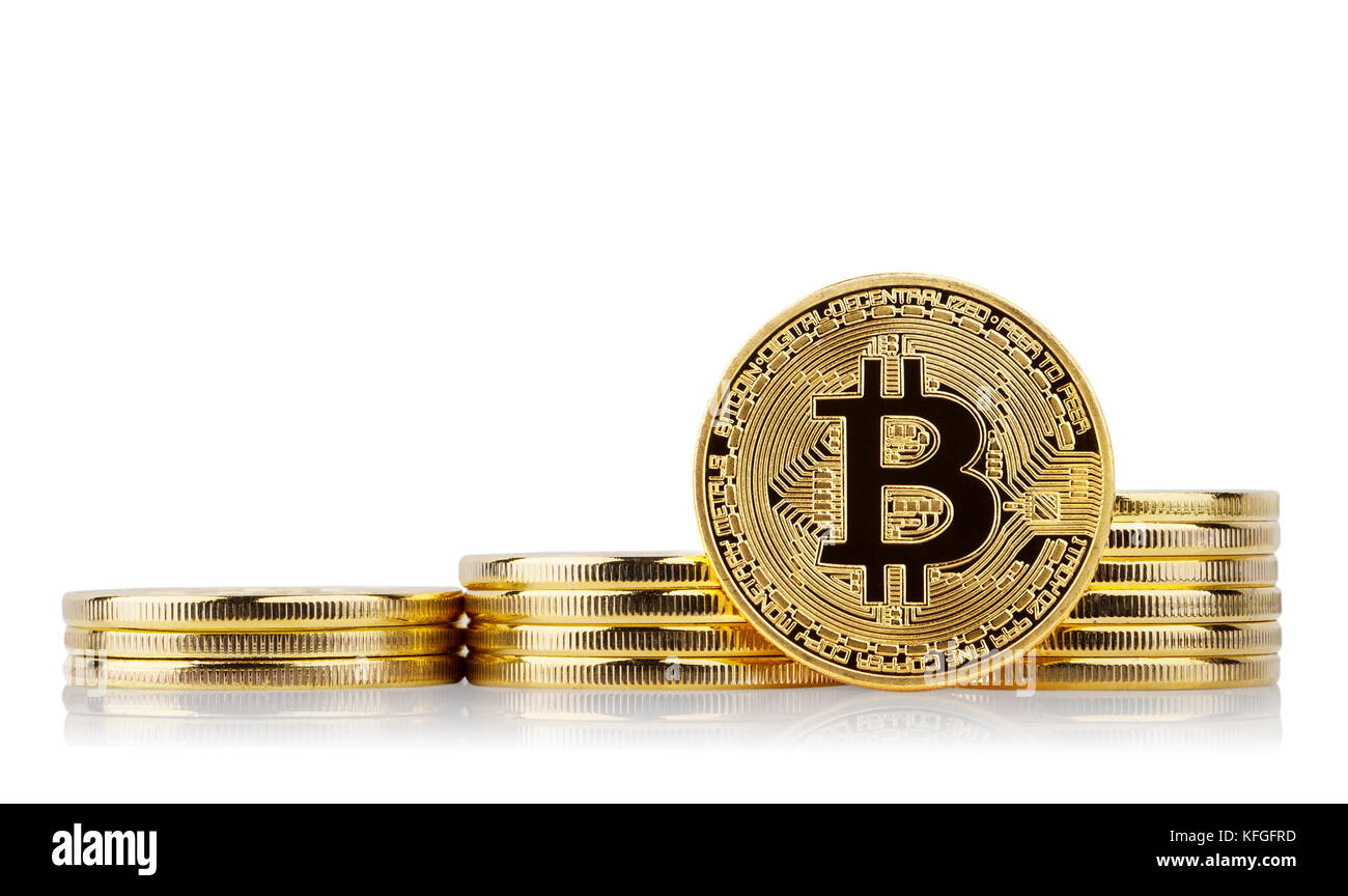 Three rising stacks and gold bitcoin face standing - Stock Image