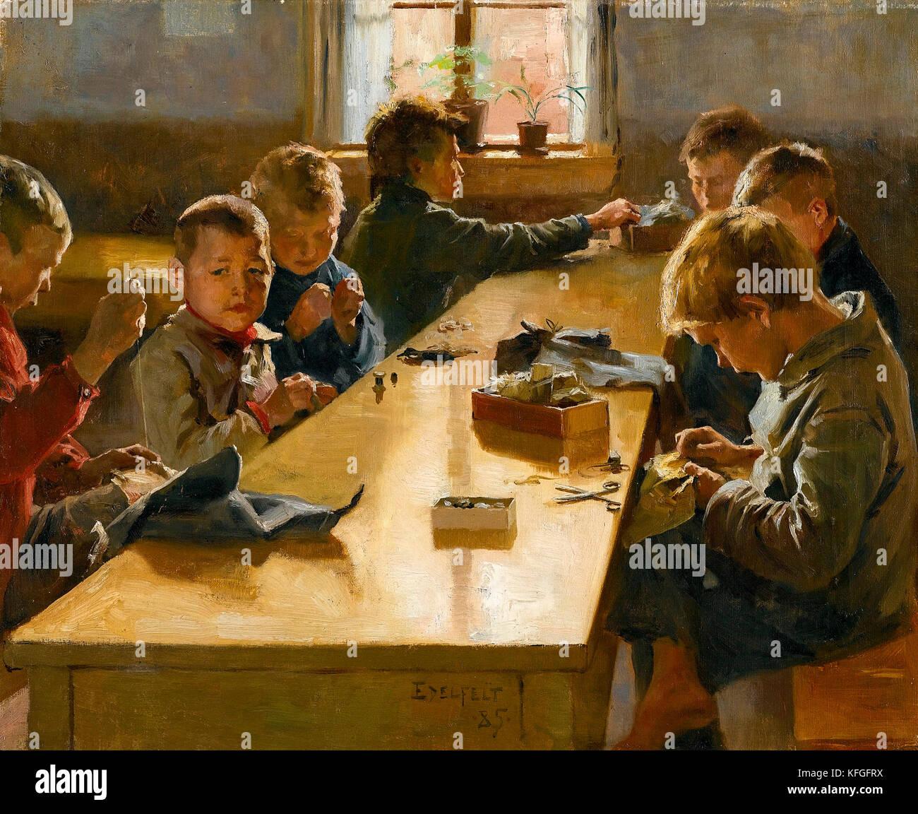 """The Boys' Workhouse"" by Albert Edelfelt (1885) Stock Photo"