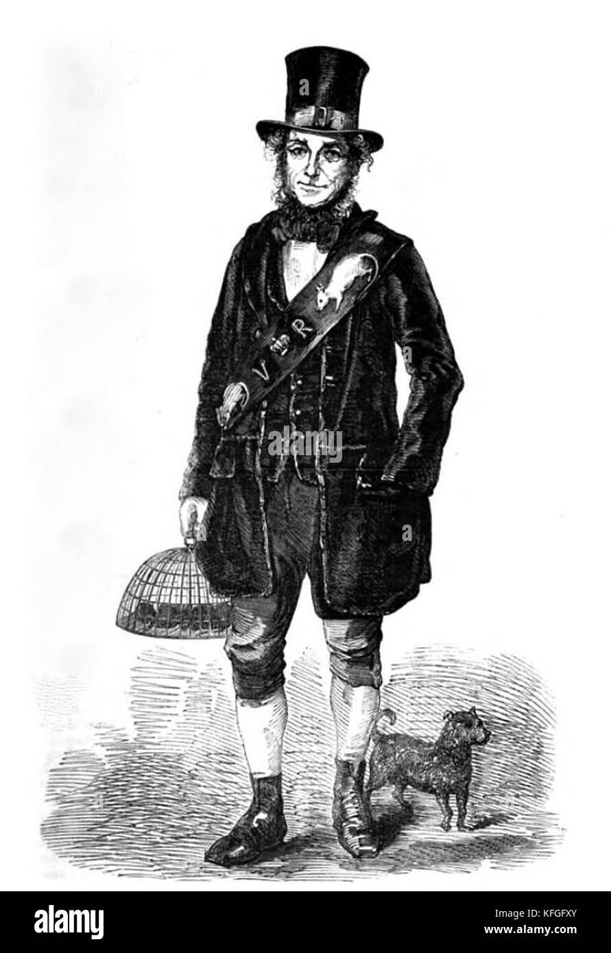 Professional rat-catcher, Victorian London - Stock Image