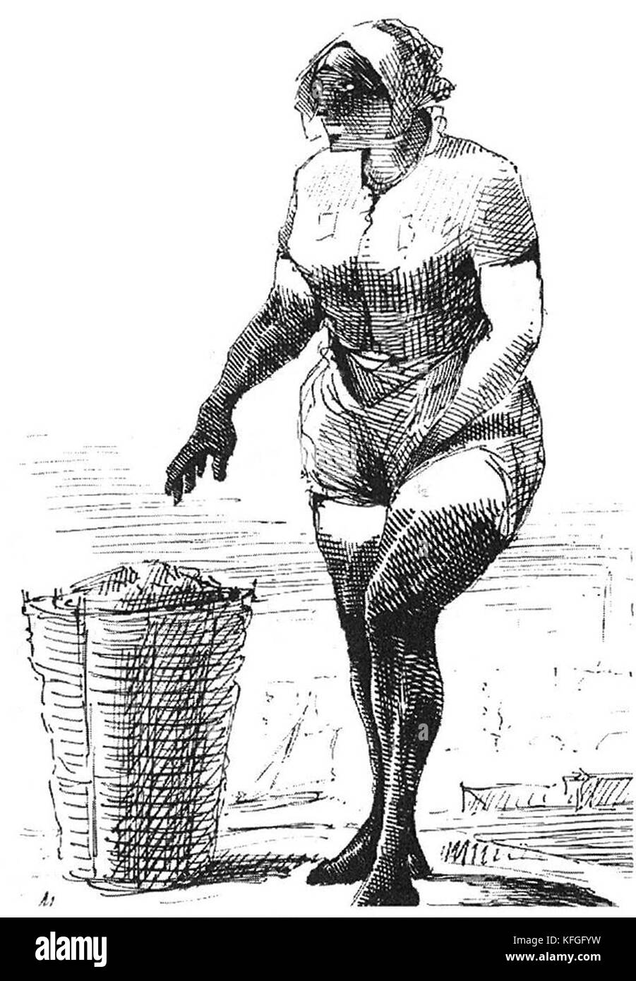 Mudlark, someone who scavenges in river mud for items of value, a term used especially to describe those who scavenged - Stock Image